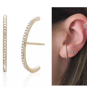 Elongated Domed Cubic Zirconia Earring, NWT